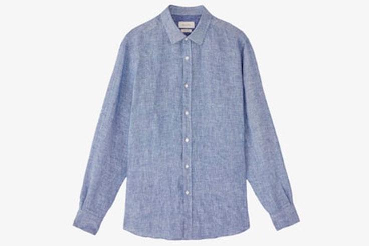 Camisa de lino en color azul de Massimo Dutti