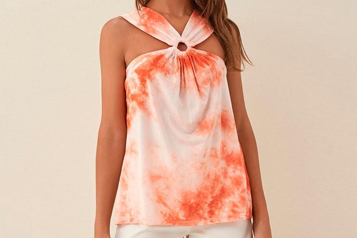 rebajas de verano 2020 Blusa tie dye en color naranja de Salsa Jeans