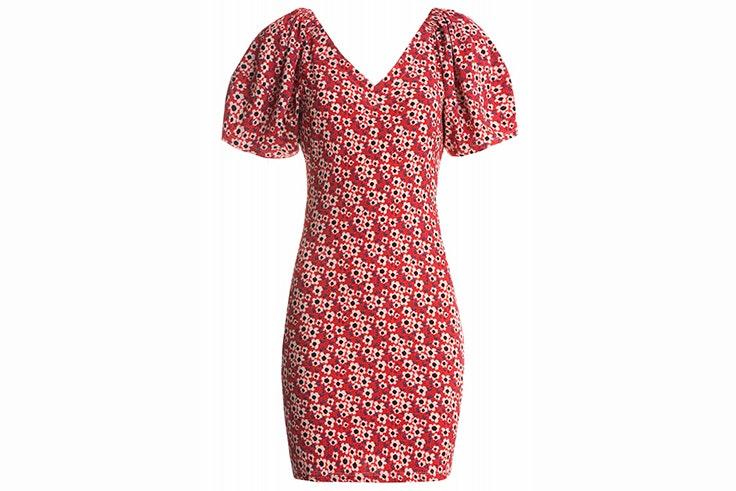 Vestido rojo con estampado de flores