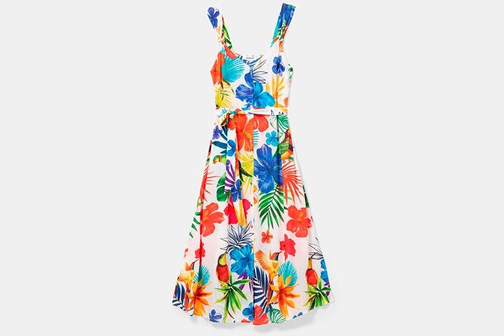 Vestido midi con estampado de flores de colores