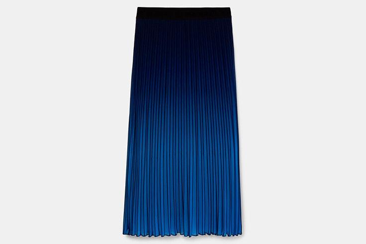 Faldas midi plisada con efecto degradado en color azul de Desigual