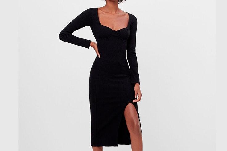 Vestido de punto en color negro de Bershka prendas de punto