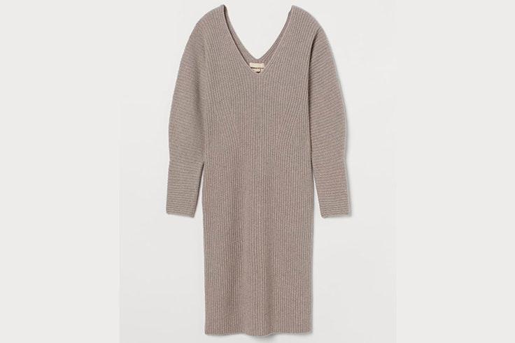 Vestido tipo jersey de punto en color piedra de H&M vestidos de entretiempo