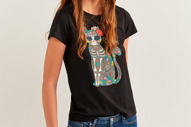 Camiseta negra de manga corta con estampado gráfico springfield yourpersonalhalloween
