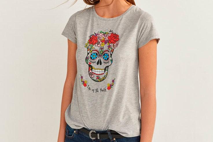 Camiseta gris de manga corta con estampado gráfico yourpersonalhalloween springfield