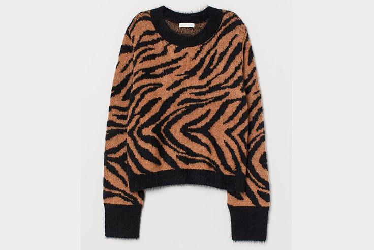 Jersey de cebra beige y negro de H&M