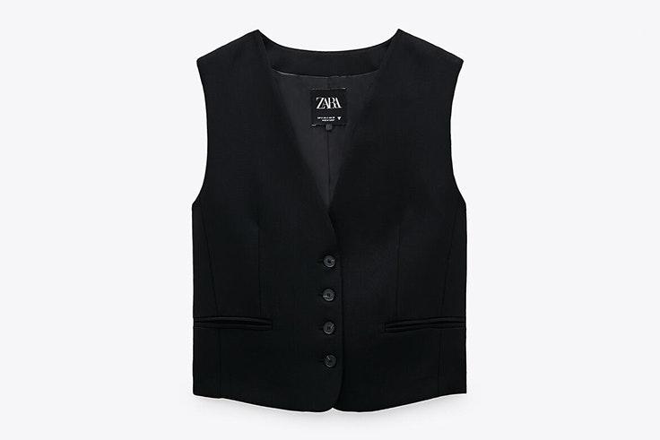 Chaleco con botones en color negro novedades de Zara