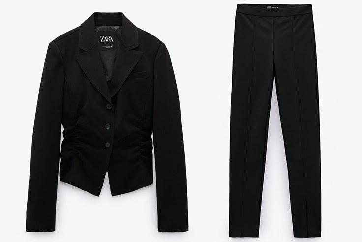 Traje negro con chaqueta de frunces y pantalones efecto legging novedades de Zara