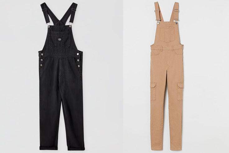 Peto negro de Pull & Bear - Peto beige de H&M tendencia petos otoño 2020