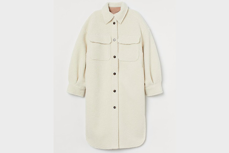Sobrecamisa de borreguito en color blanco de H&M