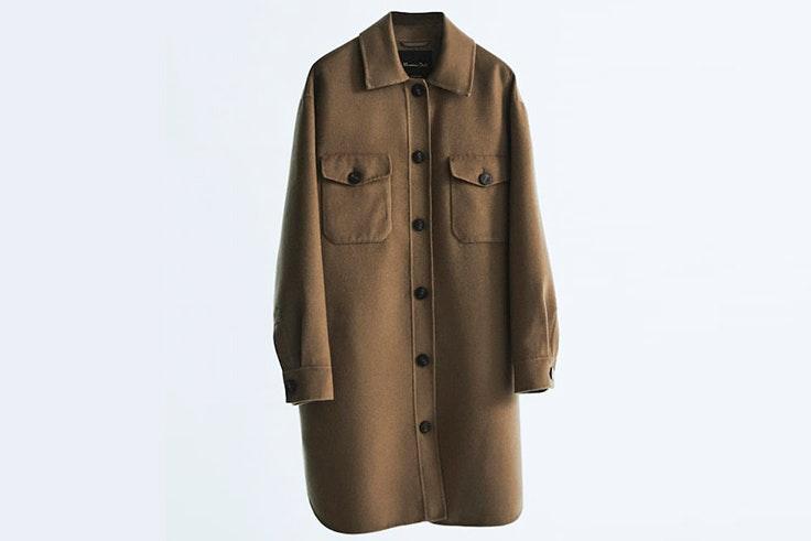 Sobrecamisa de lana en color marrón de Massimo Dutti