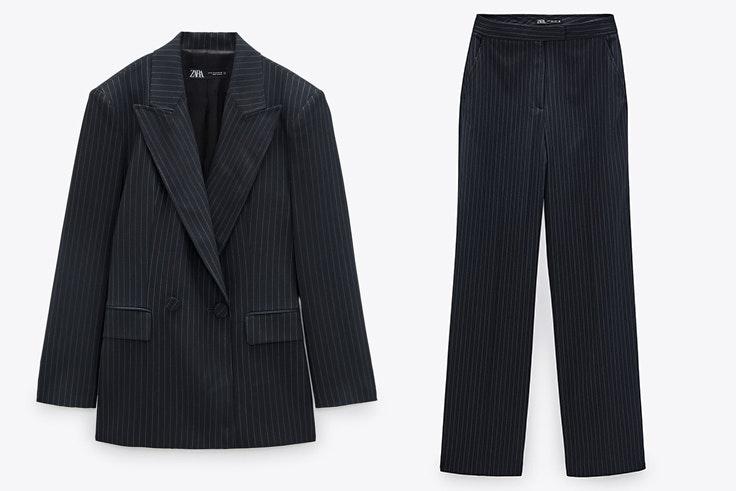 Chaqueta y pantalón con raya diplomática de Zara