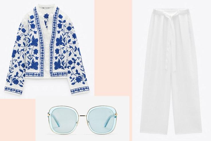 Blusa de bordados y pantalón blanco de Zara, gafas de sol de Cortefiel