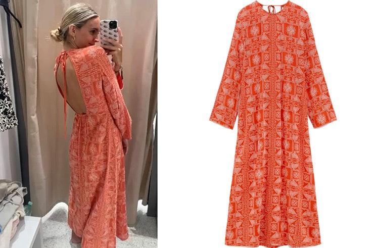 imprescindibles de primavera cris mata vestido largo con bordados de zara en color naranja