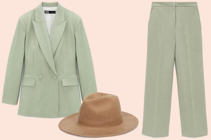 Traje verde de Zara, sombrero de Parfois