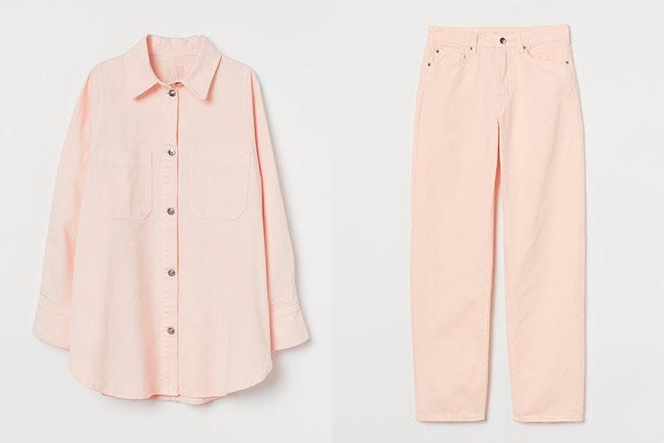 tendencias de primavera conjunto rosa pastel de hm