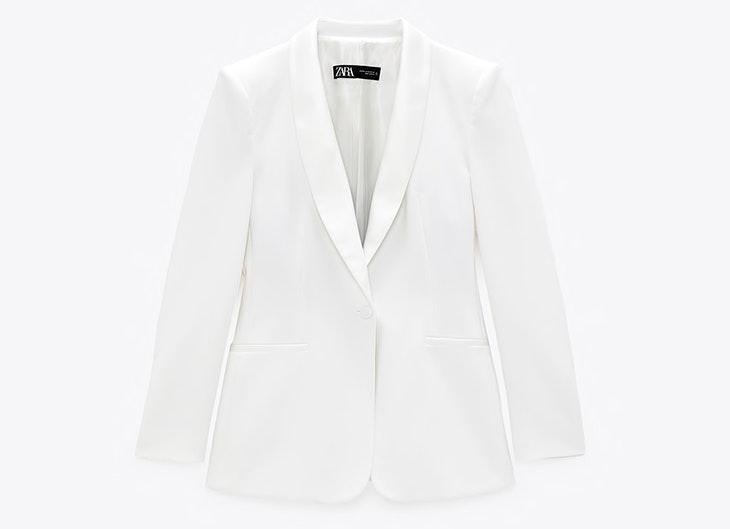 Blazer en color blanco de Zara