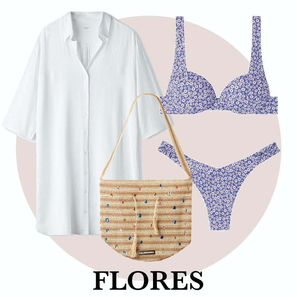 Camisa, bikini y bolso de rafia de Calzedonia