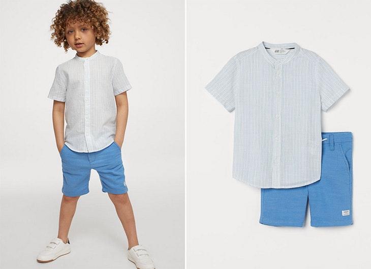 Conjunto de algodón camisa y pantalón colección infantil de H&M Camisa de manga corta con cuello mao y botones