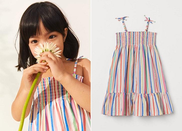 colección infantil de H&M Vestido de rayas de colores