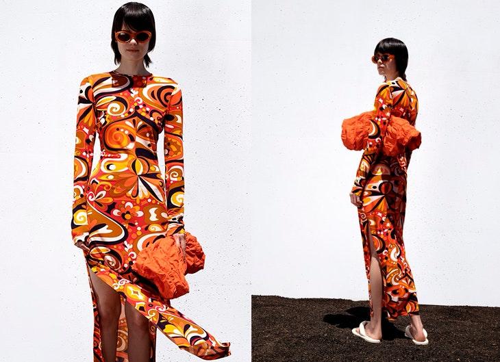tendencias para verano 2021 Vestido con estampado psicodélico de Zara tendencia setentas