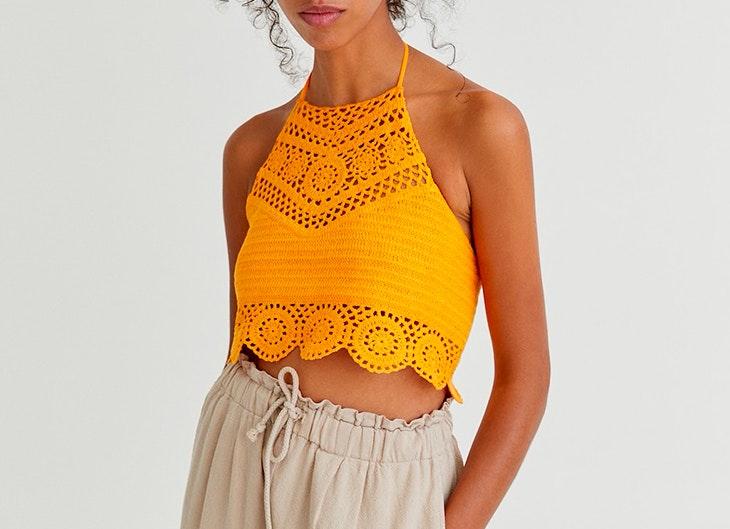 Top de crochet de Pull & Bear en color naranja