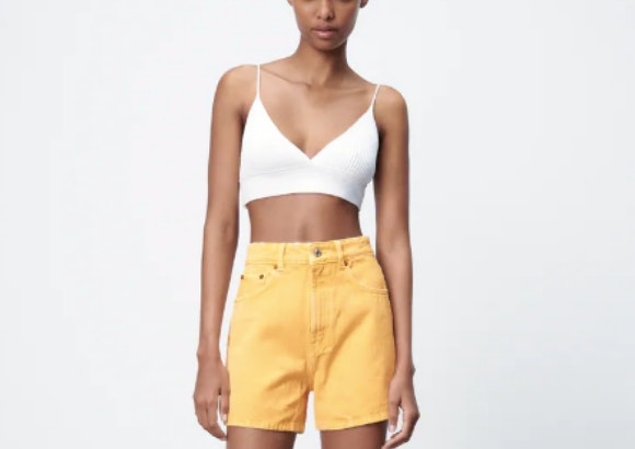 Short vaquero amarillo, Zara.