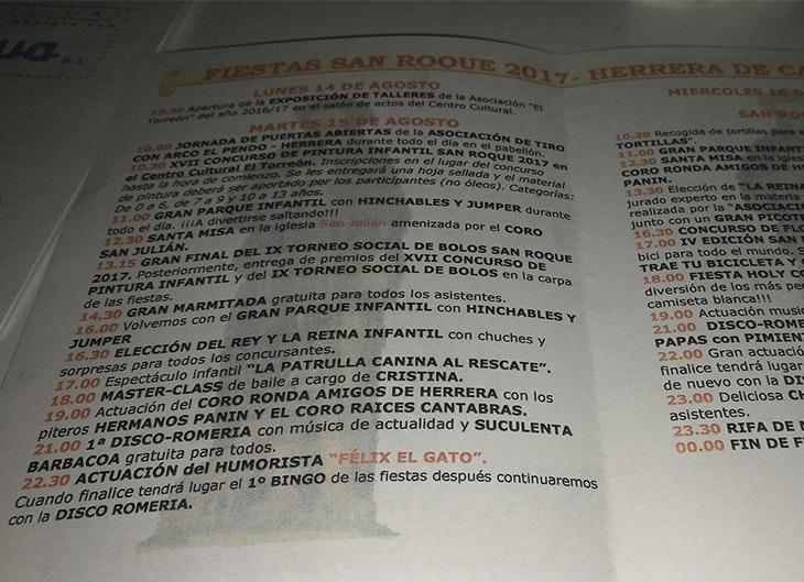 Descubre el programa de las fiestas de San Roque en Herrera de Camargo