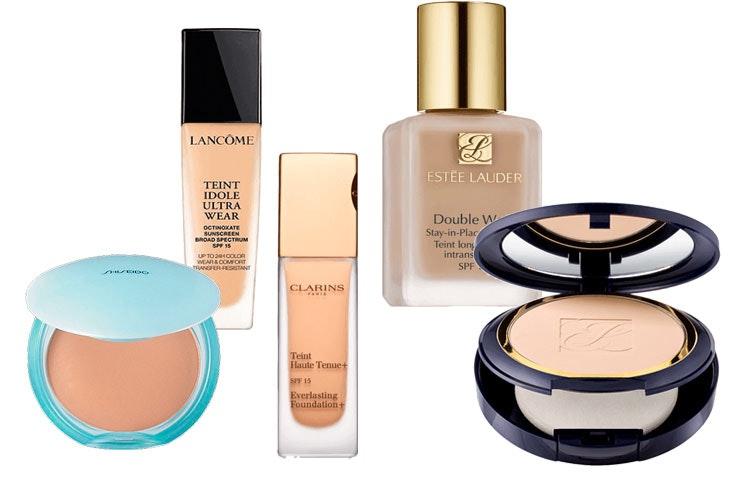 Base de Shiseido (24,95 €) / Base de Lancome (28,95 €) / Base de Clarins (26,95 €) / Base de Esteé Lauder 28,95 €) / Base de Esteé Lauder (39,95 €).