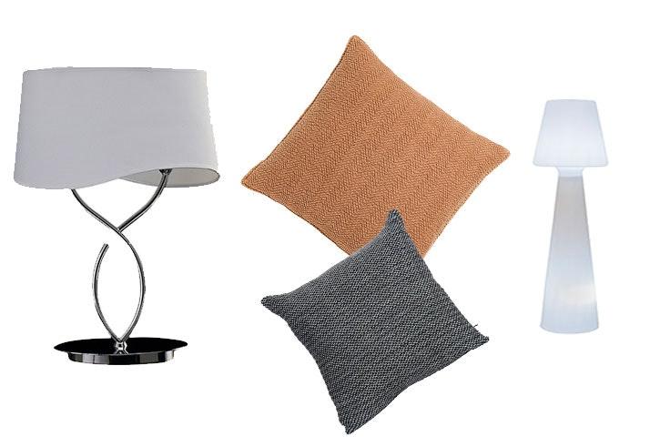 Lámpara de Leroy Merlín (49,95 €) / Cojín marrón de Zara Home (19,99 €) / Cojín gris de Leroy Merlín (10,95 €) / Lámpara de pie de Leroy Merlín (299,00 €).