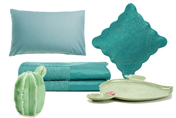Funda de almohada (12,99 €) / Funda satinada (19,99 €) / Salero de porcelana en forma de cactus (9,99 €) / Funda nórdica (129,00 €) / Bandeja en forma de cactus (39,99 €)