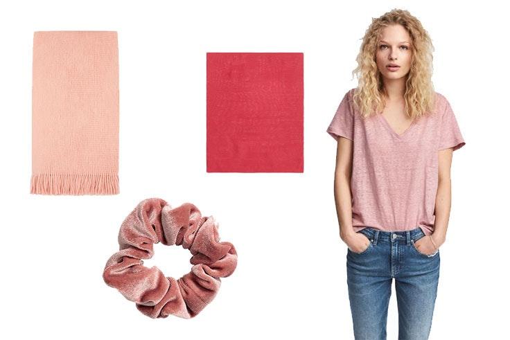 Fular de Primark (6,00 euros) / Coletero de terciopelo de H&M (3,99 euros) / Pañuelo rosa de Massimo Dutti (29,99 euros) / Camiseta rosa de H&M (14,99 euros).