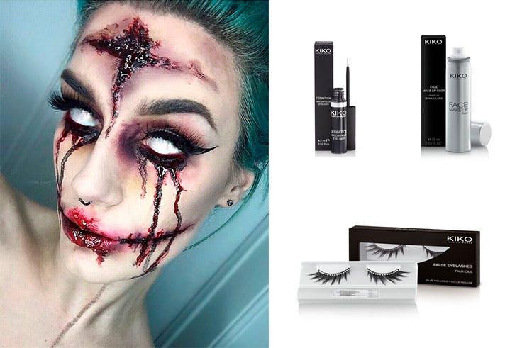 Eyeliner de Kiko (6,95 euros) / Pestañas postizas de Kiko (2,00 euros) / Spray fijador de maquillaje de Kiko (7,90 euros).