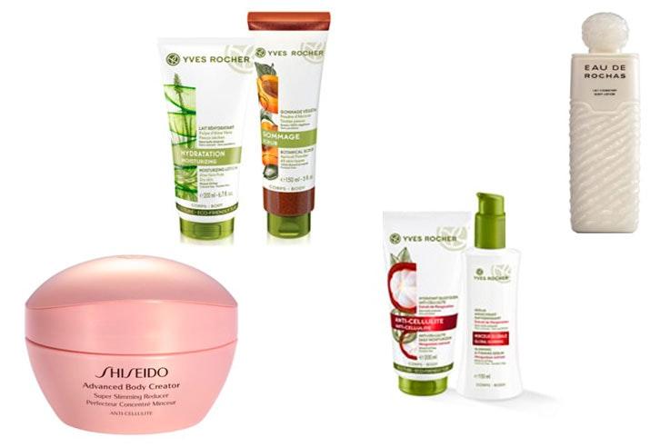 Reductor de Shiseido (Body Bell, 49,95 euros); Lote reductor y anti-celulítico de Yves Rocher (23,90); Exfoliante Yves Rocher (8,95 euros); Leche hidratante de Eau de Rochas (19, 95 euros)