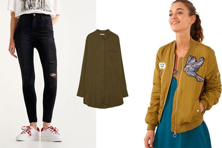 Pantalón skinny de Pull & Bear (25,99 €) / Camisa oversize de Pull & Bear (15,99 €) / Bomber de Pimkie (29,99 €).
