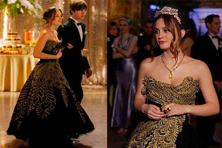 Vestido negro y dorado de Marchesa.