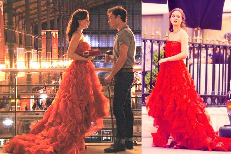Vestido rojo de Óscar de la Renta.