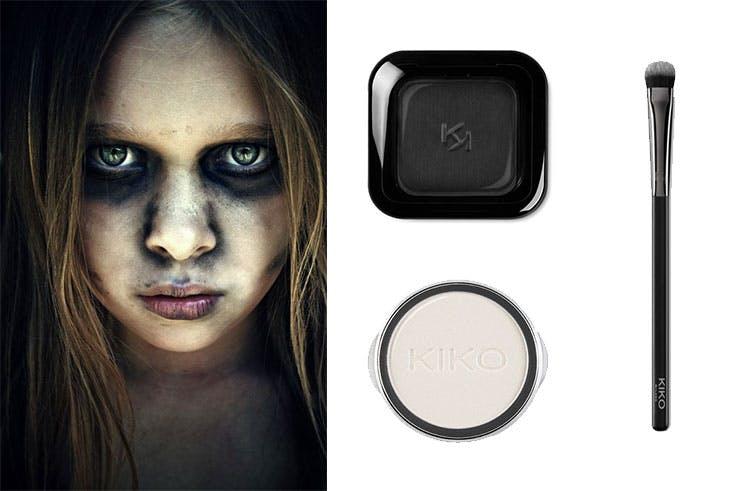 Sombra negra de Kiko (5,95 euros) / Sombra de ojos blanca de Kiko (1,00 euro) / Brocha para los ojos de Kiko (10,95 euros).