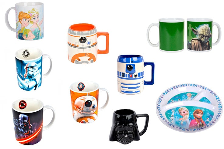 Taza Frozen (2,50€) / Tazas de Star Wars (3,99€) / Plato Frozen (1,90€)