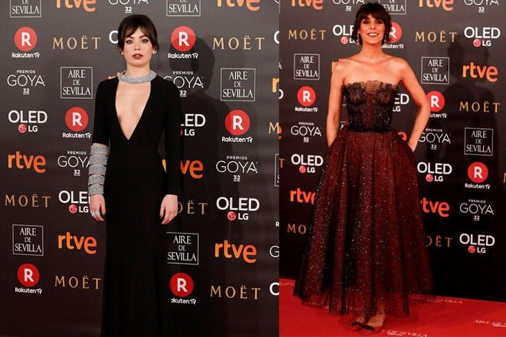 Anna del Castillo y Belén Cuesta en la alfombra roja de los Goya