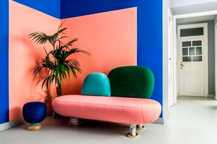 Muebles con colores complementarios para decoración 'color block'