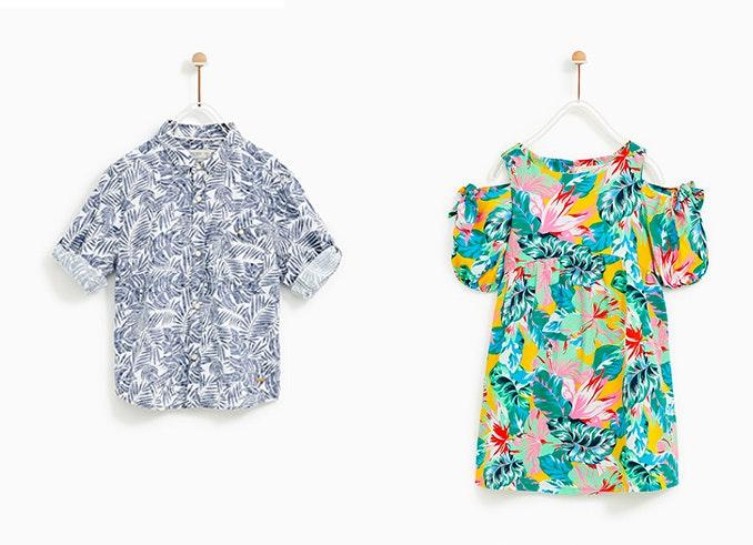 Prendas de Zara: Camisa de flores (19,95€)/ Vestido de flores tropicales (22,95€)