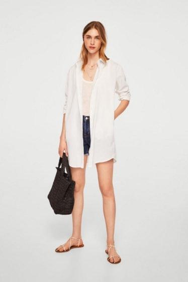 camisa oversize blanca mango