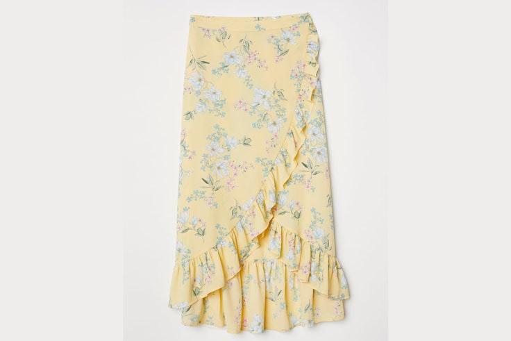 falda-amarilla-estampado-flores-volantes-hm