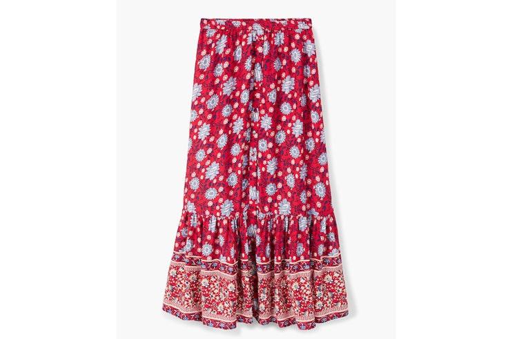 falda-roja-estampada-mango