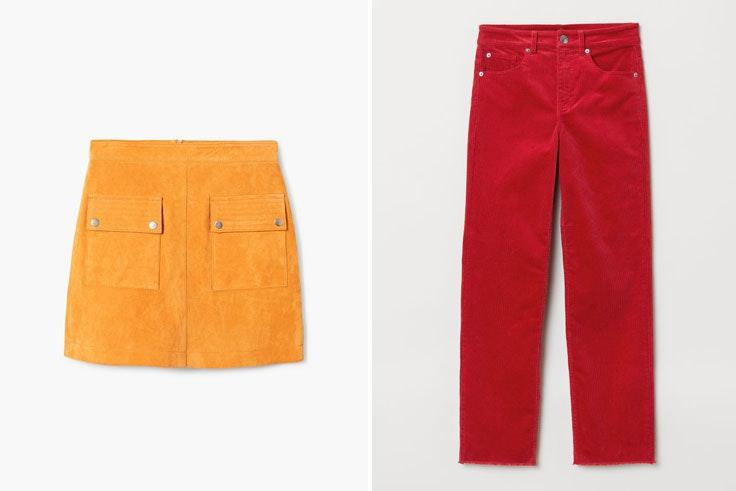 falda-amarilla-mango-pantalon-rojo-hm-color-block