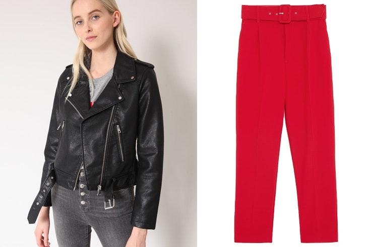 bolsos-de-perlas-conjunto-lucy-williams-chaqueta-cuero-pantalon-rojo