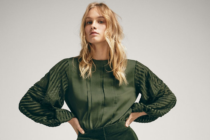 camisa-verde-kaki-manga-abullonada-massimo-dutti