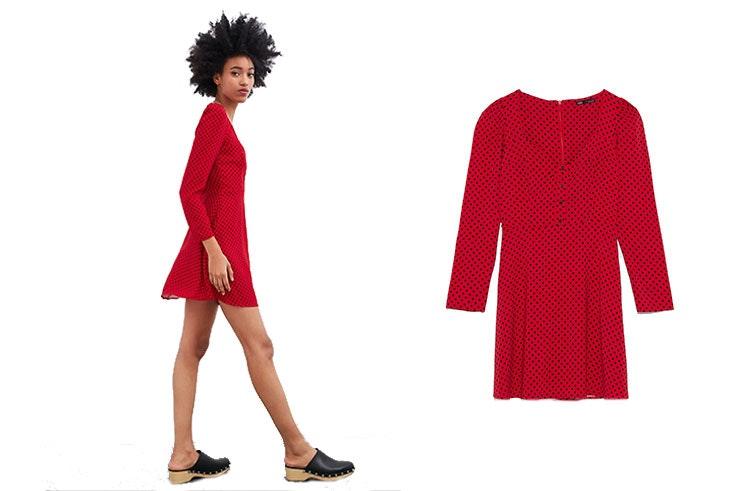 vestidos zara rojo