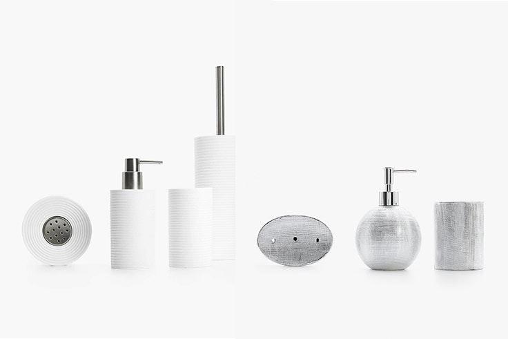 Set de baño líneas horizontales (9,99 € - 29,99 €) y set de baño rayado plateado (7,99 € - 15,99€).